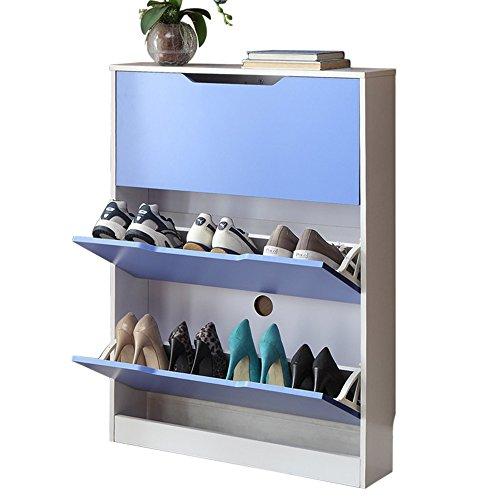 ZZHF xiejia Einfacher Haushalts-Multi-Gitter Schuhregal / kreativer staubdichter Tipping Bucket Shoebox / moderne Foyer-Speicher-Kabinette (80 * 17 * 108 cm) schuhregal holz ( Farbe : Blau - Holz-speicher-kabinette