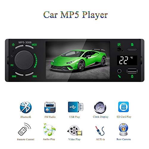 ATian Autoradio Bluetooth avec écran de température, écran Tactile de 4,1 Pouces 1080P, appels Mains Libres, stéréo FM, Radio de Voiture, Lecteur MP3/MP5, Support BT/USB/SD/AUX-in/télécommande