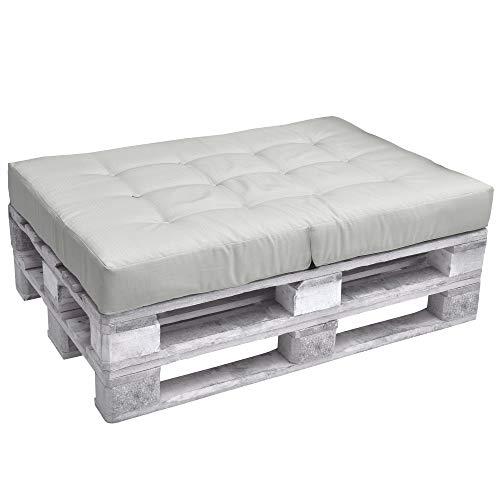 Beautissu Cuscino Seduta Divano Pallet Eco Elements 120x80x15cm - per divani con bancali di Legno - Grigio Chiaro