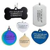 Etichette per animali domestici in acciaio inossidabile, etichette personalizzate per cani e etichette per gatti. Fino a 8 righe di testo: incisione frontale e posteriore. colore multiplo (blue, bone)