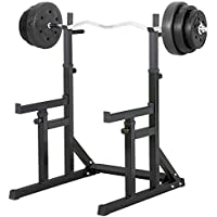 Beyondfashion Squat Rack with Dip Bars & Multi Position Spotter, Max Load: 250Kg