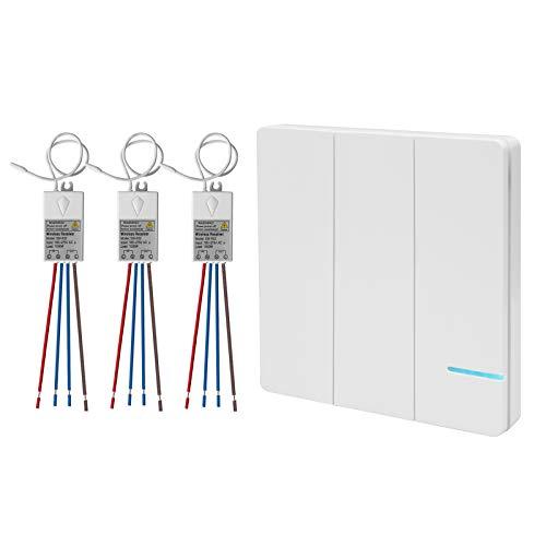 3-Wege Lichtschalter Funkschalter Set, Funk Schalter Wasserdicht Funk Wandschalter, Außen 600M,Drinnen 40M Ferngesteuert,Drahtloser kinetischev Energie Schalter mit Empfänger - 3-wege-handbuch