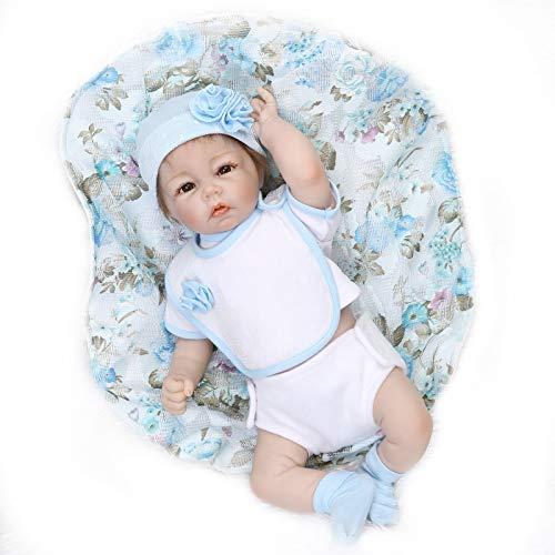 Nicery 20inch Renacido de la Reborn muñeca de silicona suave mitad Vinilo 50cm magnética Boca realista Niño Niña vestido azul de juguete Reborn Baby Reborn Doll