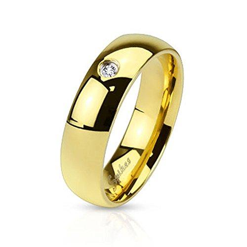 Mianova Band Ring Edelstahl poliert mit Kristall Herrenring Damenring Partnerring Verlobungsring Damen Herren Gold Breite 6mm Größe 60 (19.1)