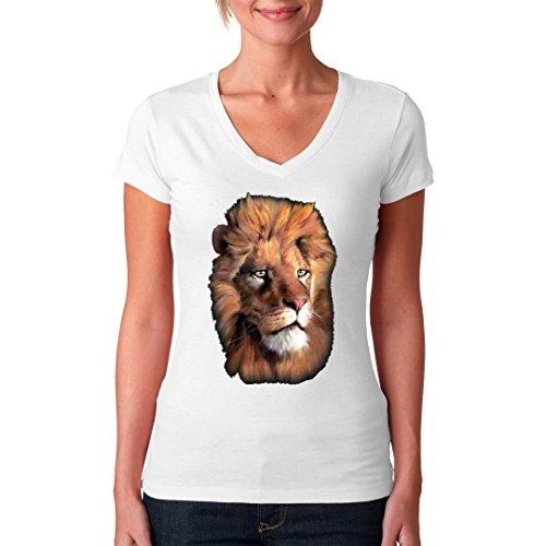 Fun Girlie V-Neck Shirt - Fotorealistischer Löwenkopf by Im-Shirt Weiß