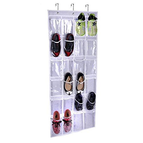 Togather Appeso sopra la porta portascarpe con 24 tasche e appendere gancio/appeso porta Shoe Rack bianco