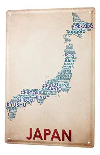 Pared Cartel De Chapa Aventurero Decoración mapa de Japón Letrero De Metal 20X30 cm