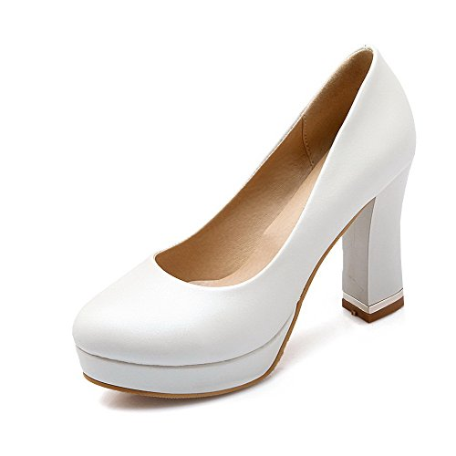 Voguezone009 Femme Pure Shimmer Talon Haut Round Toe Pull Toe Fermé Ballerines Blanc