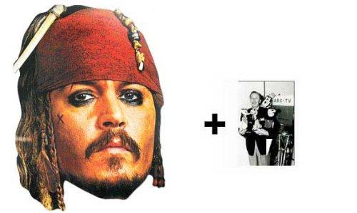 Captain Jack Sparrow Karte Partei Gesichtsmasken (Maske) (Johnny Depp) - Enthält 6X4 (15X10Cm) starfoto