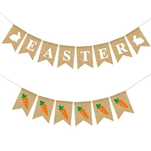 VADOO 2 Stücke Ostern Party Banner Sackleinen Kaninchen Karotte Muster Bunting Garland Leinen Schwalbenschwanz Flagge ziehen Blume Banner Glückwunsch Banner für Ostern Home Party Decor (Karotte Kostüm Muster)