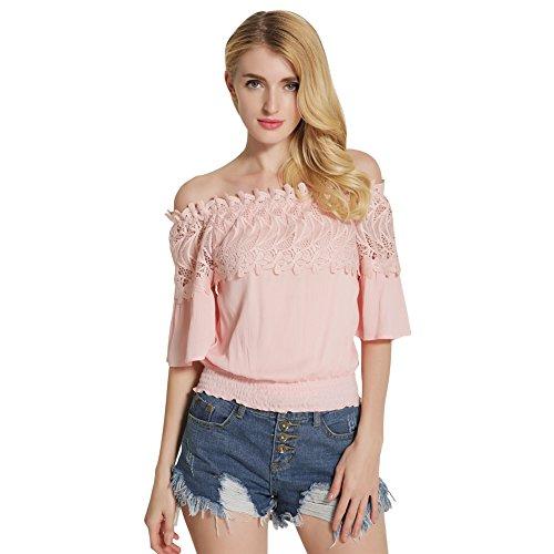 Etosell Femme T-shirt d'ete En Mousseline De Soie Dentelle Sans Bretelles Tops Rose