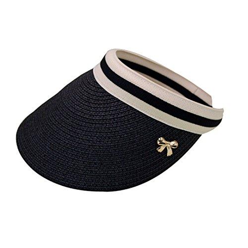LA HAUTE donna estate parasole grande paglia spiaggia sole cappello Outdoor Sports Cap, Nero, Taglia unica
