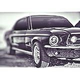 Retro Coche deportivo–coche Mustang–cuadro de impresión A4–Póster