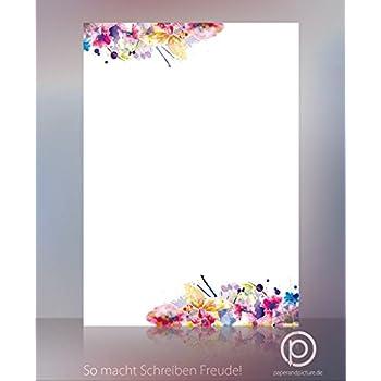 Briefpapier Set Blumenrahmen I 50 Blatt Motiv-Papier in