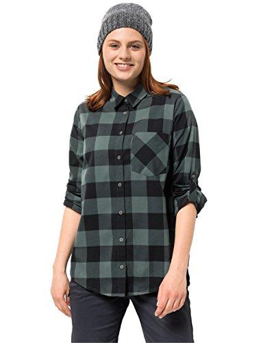 Jack Wolfskin Damen HOLMSTAD Shirt Bluse für Reise Freizeitbluse Atmungsaktiv, grünlich grau Checks, XL