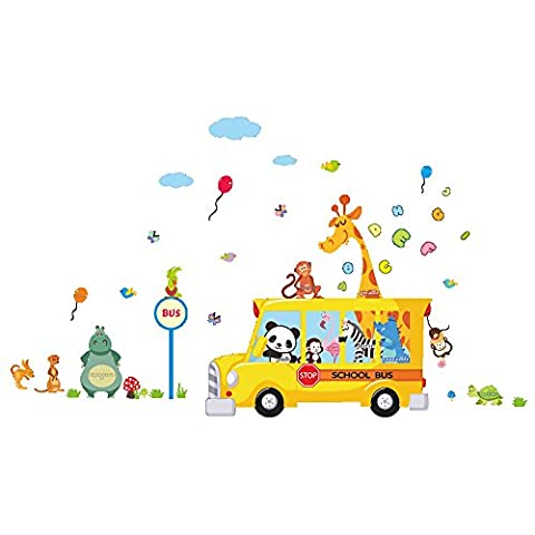 Winhappyhome Singe Giraffe Zoo Bus Wall Art Stickers pour Enfants