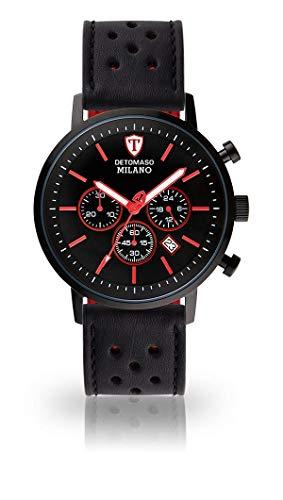 DETOMASO Milano XL Orologio da polso da uomo, cronografo analogico al quarzo, cinturino in pelle nera, quadrante nero DT1082-B-842