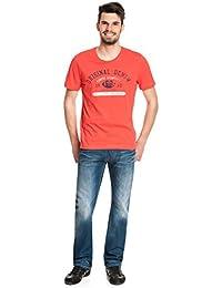 Mustang - Hommes T-Shirt Basic Avec Motif Col rond