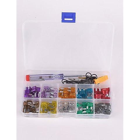 100pcs cuchilla coche 35a 30a 25a 20a 15a 7.5a kit pequeño fusible 2a 3a 5a 10a con Electroprobe probador eléctrico