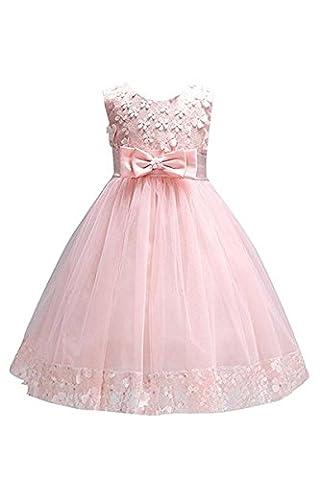 YMING Mädchen Kleider Armelos Brautjungfern 3D Blumenkleid Hochzeitparty Festliches Prinzessin
