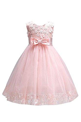 YMING Mädchen Kleider Blumenspitzen Hochzeitgast Prinzessin Kleid mit Schleife Armelos Sommer Kleid,Rosa,8-9 Jahre Alt