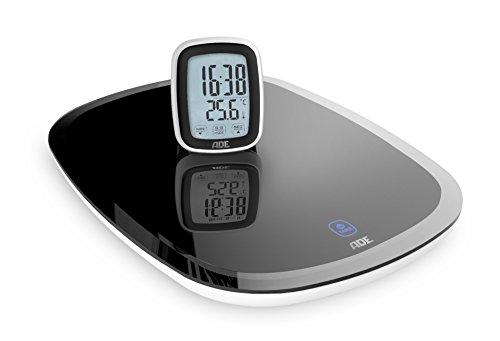 ADE Digitale Küchenwaage KE 1403 Cosma mit Funk-Display. Elektronische Waage für die Küche mit seperatem LCD-Display. Inklusive Uhr, Thermometer und Timer. Grammgenau wiegen bis 5 kg. Schwarz
