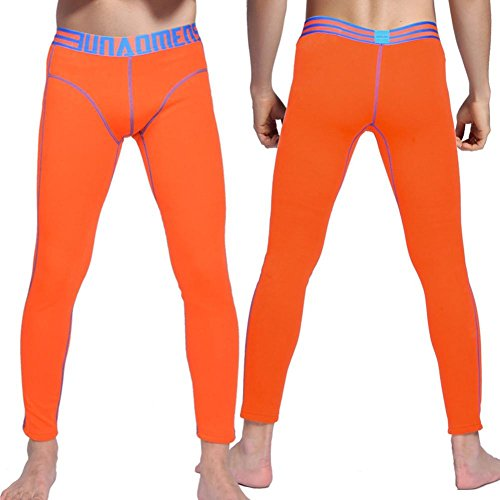 NEIYI Mens Long Johns Hosen Leggings Slim Fit Dünne Gedruckte Low Rise Dicker Baumwolle Thermische Hose, orange