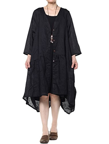 vogstyle Damen Frühling/Sommer Longline Offene Strickjacke Damen Coat Gr. One size, schwarz