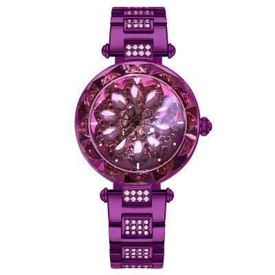 ZCCZJBXS Rotation Rose Gold Frauen Uhren Luxusmarke Uhr Diamand Blume Hohle Dame Uhr Strass Kreative Quarz Armbanduhr Lila