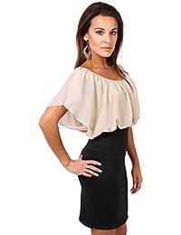 KRISP Damen Kleid Chiffon Stretch Minikleid Kontrastfarben