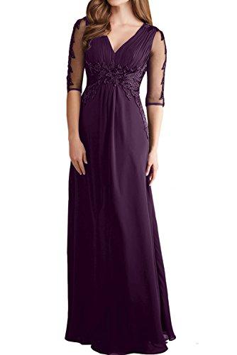 Ivydressing Damen Elegant Arm Lang Abendkleider Spitze Chiffon Festkleid Ballkleid Partykleider Traube