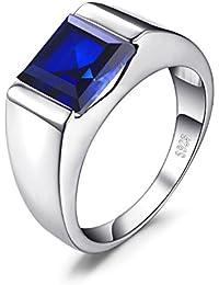 jewelrypalace Hombre 3.4CT anillo Creado Zafiro Azul En Plata Esterlina 925
