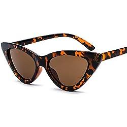 PAWACA ojo de gato gafas de sol de moda para hombres y mujeres–Retro/Fashion apto para estilo de la calle, ligero marco HD lentes polarizadas proteger los ojos, leopardo