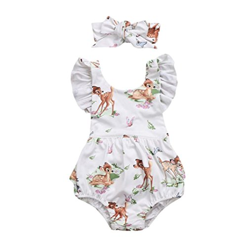 Price comparison product image Kavitoz Clearance / / Toddler Baby Girls Romper Jumpsuit Playsuit Infant Headband Clothes Outfits Set For 0-18M (Beige,  12-18M)