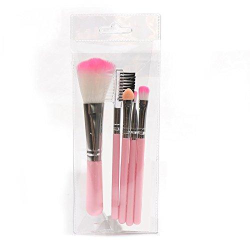 Vi.yo 5 Pcs mini maquillage pinceau ensemble professionnel blush fard à paupières sourcils lèvres pinceaux ensemble pour le visage et les yeux (style 1)