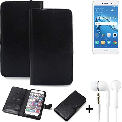 K-S-Trade 360° Handyhülle Wallet Case für Huawei Y7 Dual SIM Schutz Hülle Smartphone Flip Cover Flipstyle Tasche Schutzhülle Flipcover Slim Bumper schwarz, 1x + in Ear Headphones