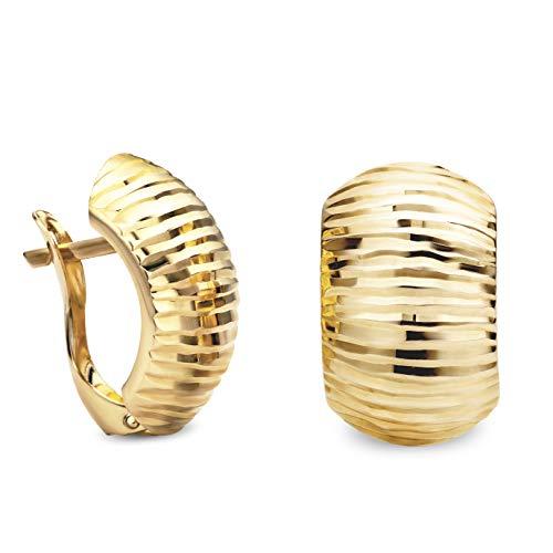 14 Karat 585 Gold Ohrringe Creolen Gelbgold Glänzend Ohrschmuck – SIT12 (Creolen Kleine Gold 14kt)