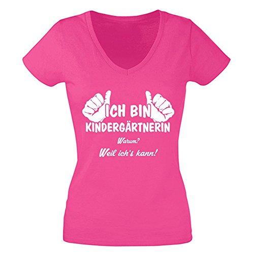 Damen T-Shirt V-Neck - Ich bin Kindergärtnerin, weil ich's kann - von SHIRT DEPARTMENT fuchsia-weiss