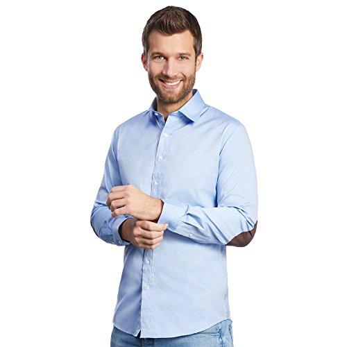 ALLBOW Smart: Herren-Hemd in Blau mit Ellbogen-Patches Braun, Slim Fit, XL 43/44