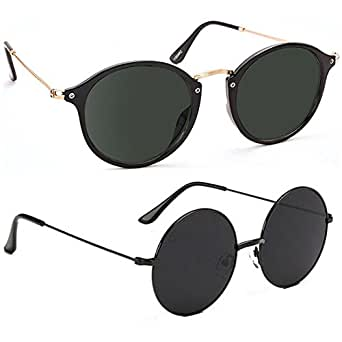ELLIGATOR Poly-Carbonate Round Cateye Unisex Sunglasses (3, Multicolour) -Combo of 2