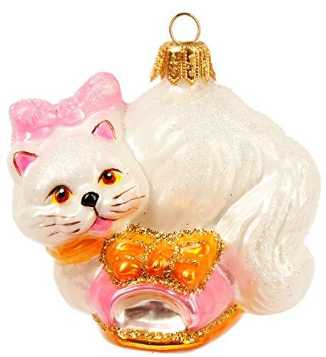 schmuck Figuren Tiere Christbaumkugeln Weihnachtskugeln Weihnachts Baumschmuck Baumkugeln Deko Katze rosa Hausschuh 6.5cm ()