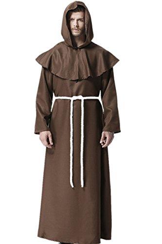 Mönche Kostüm - Mönch Mittelalterlich Mit Kapuze Mönch Renaissance Priester Robe Kostüm Cosplay (X-Large)