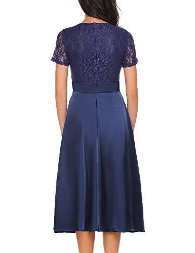 ACEVOG Damen Elegant Retro Vintage Rockabilly Kleid Spitzenkleid Abendkleid Cocktailkleid Partykleid A Linie Swing Kleider Festlich Knielang Weinrot Blau Rosa Gr.S-XXL Blau