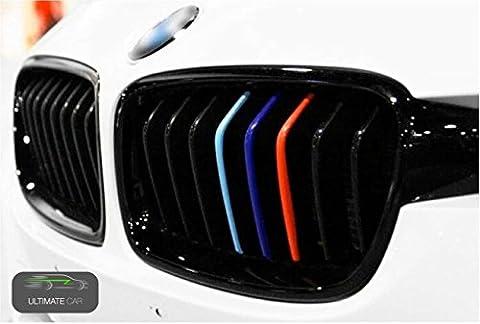 Ultimate Car Nierenaufkleber BMW M Design Emblem Reihe Autoaufkleber Autoaufkleberset Logo Sticker Motorhaube Außenspiegel Karosserie Auto in den Farben rot, blau, hellblau für Modelle wie e46, e90, e39, e60 e46 Tuning von TK
