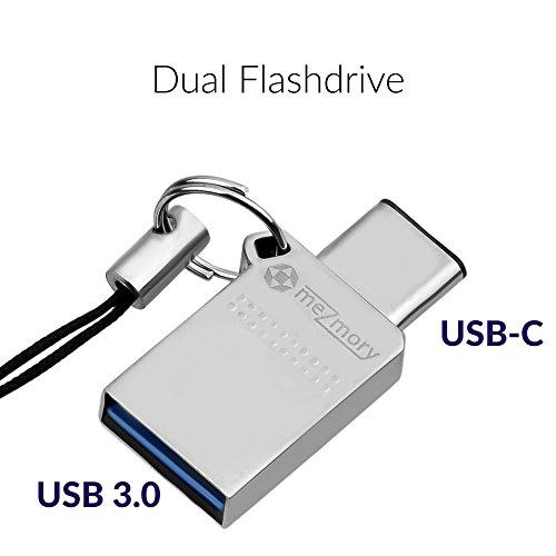2 in 1 Dual USB-C Stick 64GB 3.0 ** Wasserdicht, Klein & Extrem Schnell ** Speicherstick aus Metall (Edelstahl) ** Ideal für Schlüssel-Anhänger ** Type C auf USB A (Male) in Silber by mezmory