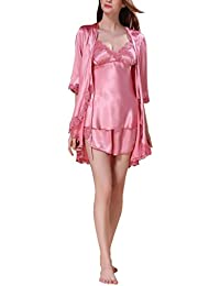 6a390dea9b 4PING Women s Satin Sleepwear V-Neck Lace Trim Short Summer Pajama Set and  Robe Three