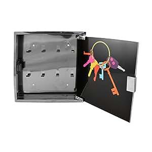 incidence 44950 armoire bo te cl s murale porte clefs noir et gris chrome m tal et verre. Black Bedroom Furniture Sets. Home Design Ideas