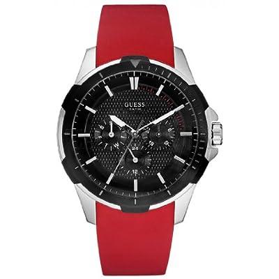 Guess W85079G3 - Reloj de cuarzo para hombre, con correa de goma, color rojo