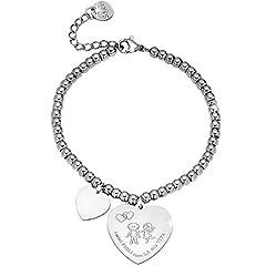 Idea Regalo - Beloved ❤️ Bracciale da donna, braccialetto in acciaio emozionale - frasi, pensieri, parole con charms - ciondolo pendente - misura regolabile - incisione - argento