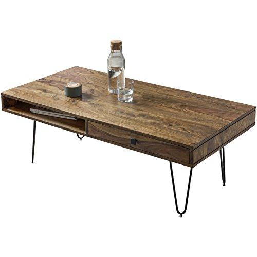 •FineBuy Design Table Basse de Salon 117x43x60 cm Bois Massif Sheesham Palissandre Brun | Table d'appoint salle de séjour